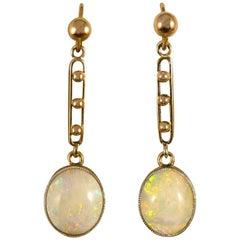 Antique Edwardian 15 Carat Gold Opal Drop Earrings
