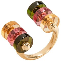 Garrard 18 Karat Yellow Gold Multi-Gem Jade Jagger Limited Edition Tablet Ring