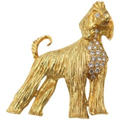 Afghan Hound Dog 18 Karat Yellow Gold Brooch