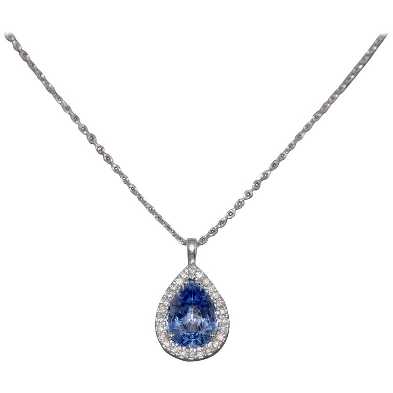 Pear Sapphire 1.30 Carat and Diamonds 0.10 Carat White Gold Pendant Necklace