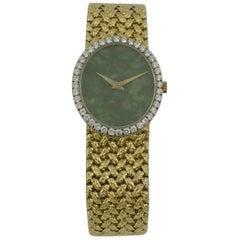 Piaget Yellow Gold Diamond Bezel Jade Dial Woven Bracelet Wristwatch
