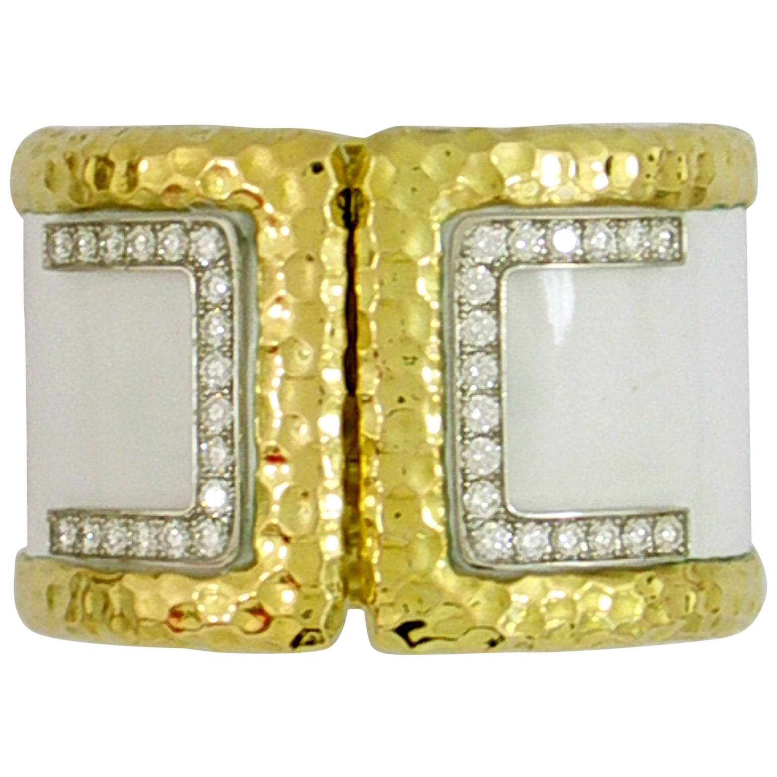 Wide Gold Cuff with Hammered Design and Diamonds