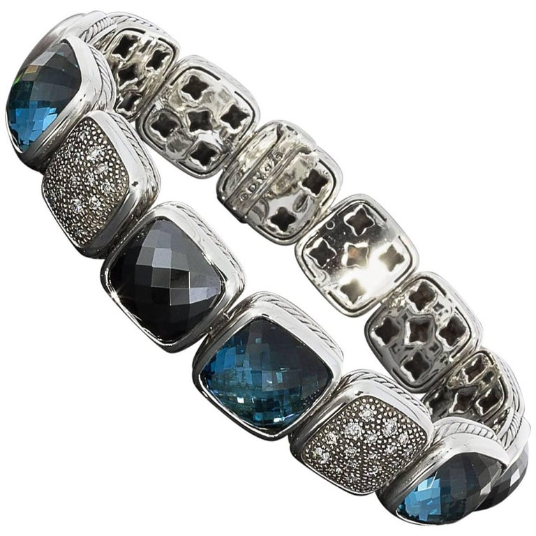 David Yurman Diamond Chiclet Bracelet with Blue Topaz Hematite