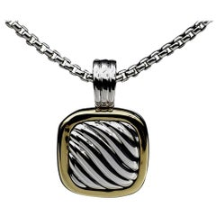 David Yurman Cable Square Locket 18 Karat Yellow Gold and Silver