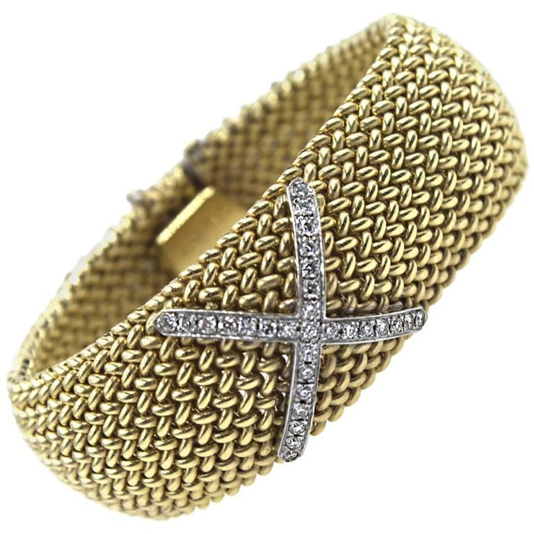 Diamond X Wide Textured 14 Karat Yellow Gold Soft Bangle Bracelet