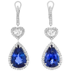 GRS White Gold Pear Cut Sapphire with Diamonds Earrings
