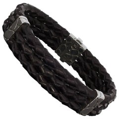 John Hardy Kali Three-Row Leather and Silver Bracelet