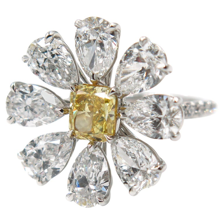 Diamond Flower Platinum Ring