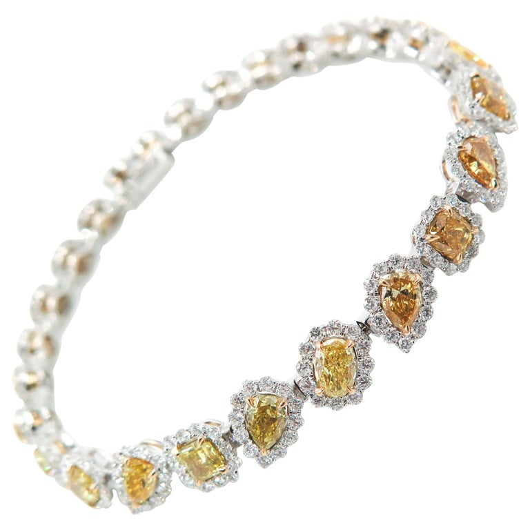 Halo Fancy Yellow Diamond White Gold Bracelet For Sale