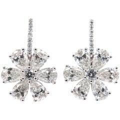 Diamond Flower Platinum Drop Earrings