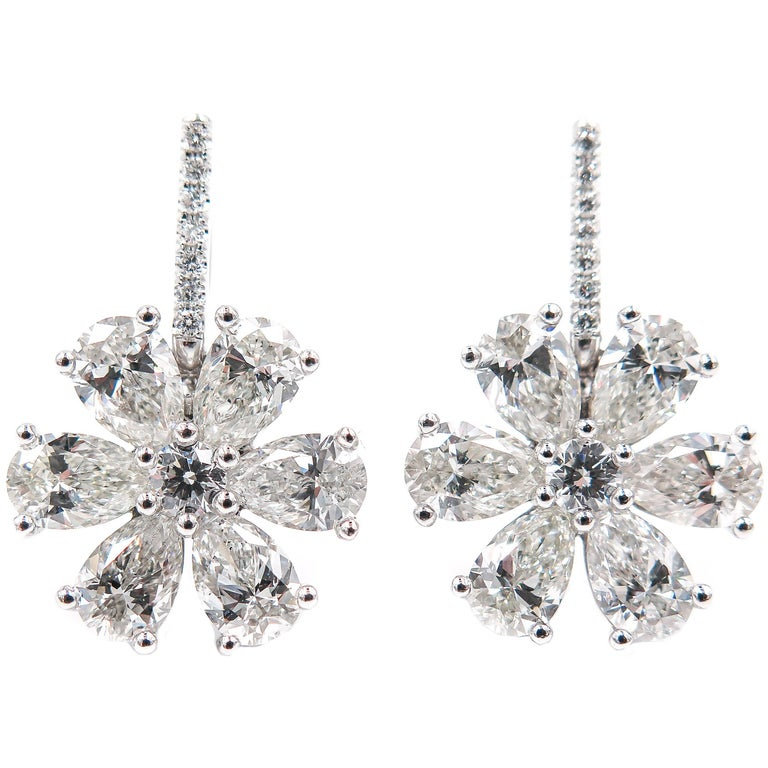 Diamond Flower Platinum Drop Earrings