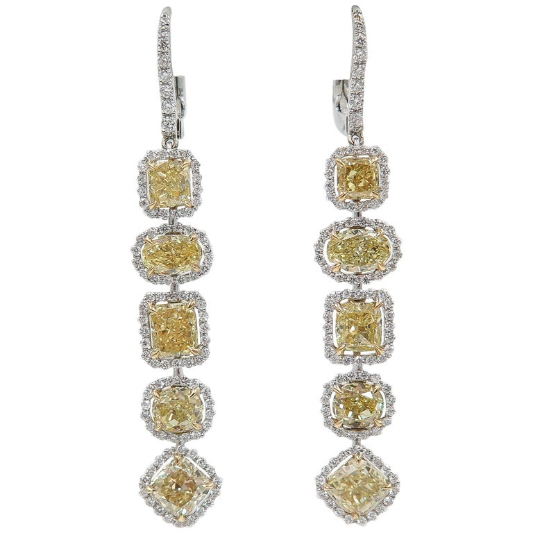 White and Yellow Diamond Drop Earrings in White Gold