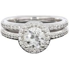 A. Jaffe White Gold GIA Certified Round Diamond Halo Engagement Ring Wedding Set