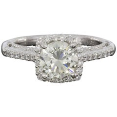 Verragio Venetian Cushion Halo Round Diamond Engagement Ring