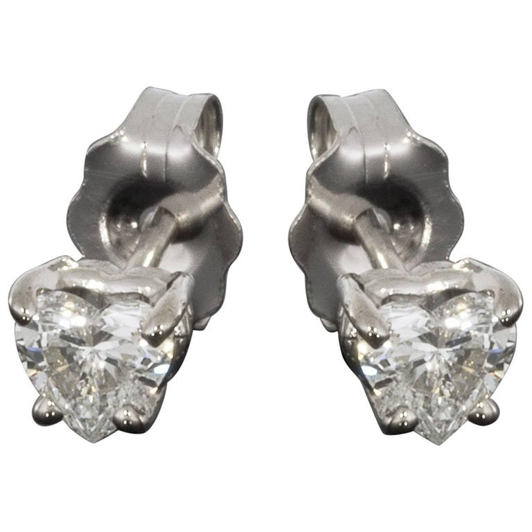 0.33 Carat Heart Diamond 14 Karat White Gold Stud Earrings
