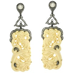 Carved Mammoth Bone Earrings with Diamonds