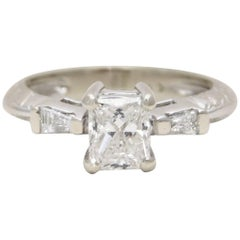 Custom 14 Karat White Gold Princess-Cut Diamond Engagement Ring
