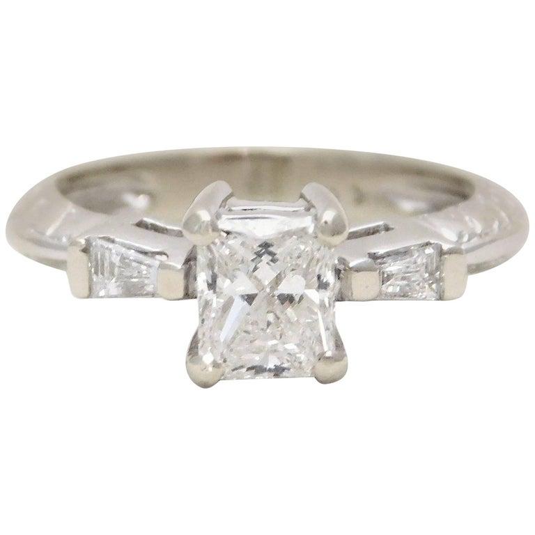 Custom 14 Karat White Gold Princess-Cut Diamond Engagement Ring