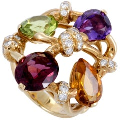 Chanel Venitienne Diamond and Multi-Gemstone Yellow Gold Ring