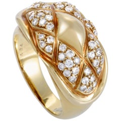 Chaumet Yellow Gold Diamond Pave Quilted Ring