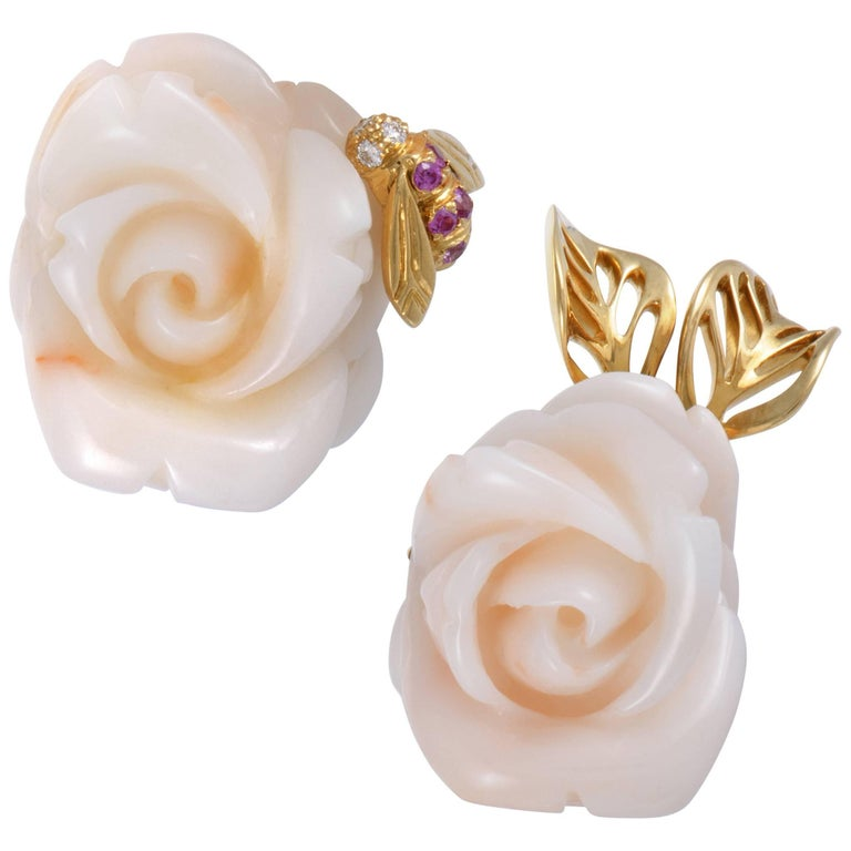 cd9d0673f1 Dior Pre Catelan Diamond Pink Sapphire and White Coral Yellow Gold Rose  Earrings