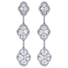 4.70 Carat Diamond Tiered White Gold Drop Earrings