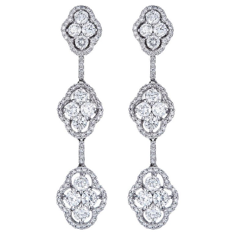 4.70 Carat Diamond Tiered White Gold Drop Earrings For Sale