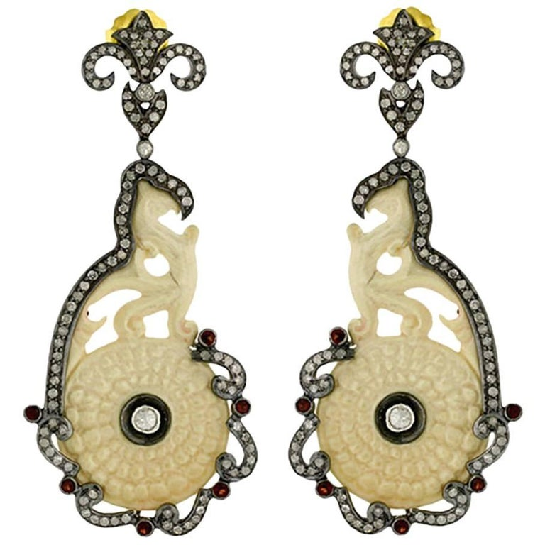 Designer Carved Mammoth Bone Earring with Diamonds