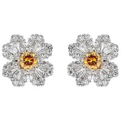 2.47 Carat Diamond and 1.08 Carat Brown Diamond White Gold Flower Stud Earrings