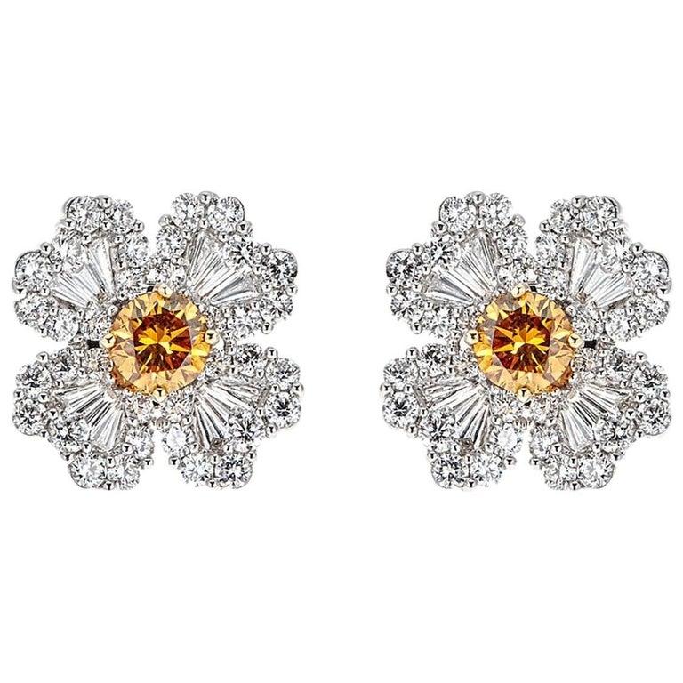 2.47 Carat Diamond and 1.08 Carat Brown Diamond White Gold Flower Stud Earrings