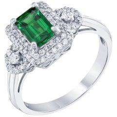 1.52 Carat Tsavorite Diamond 14 Karat White Gold Bridal Ring