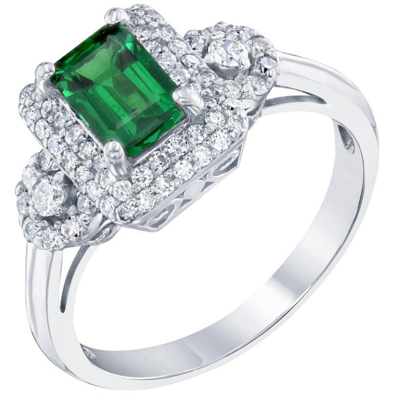 1.52 Carat Tsavorite Diamond White Gold Ring