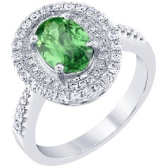 1.90 Carat Oval Cut Tsavorite Diamond White Gold Ring