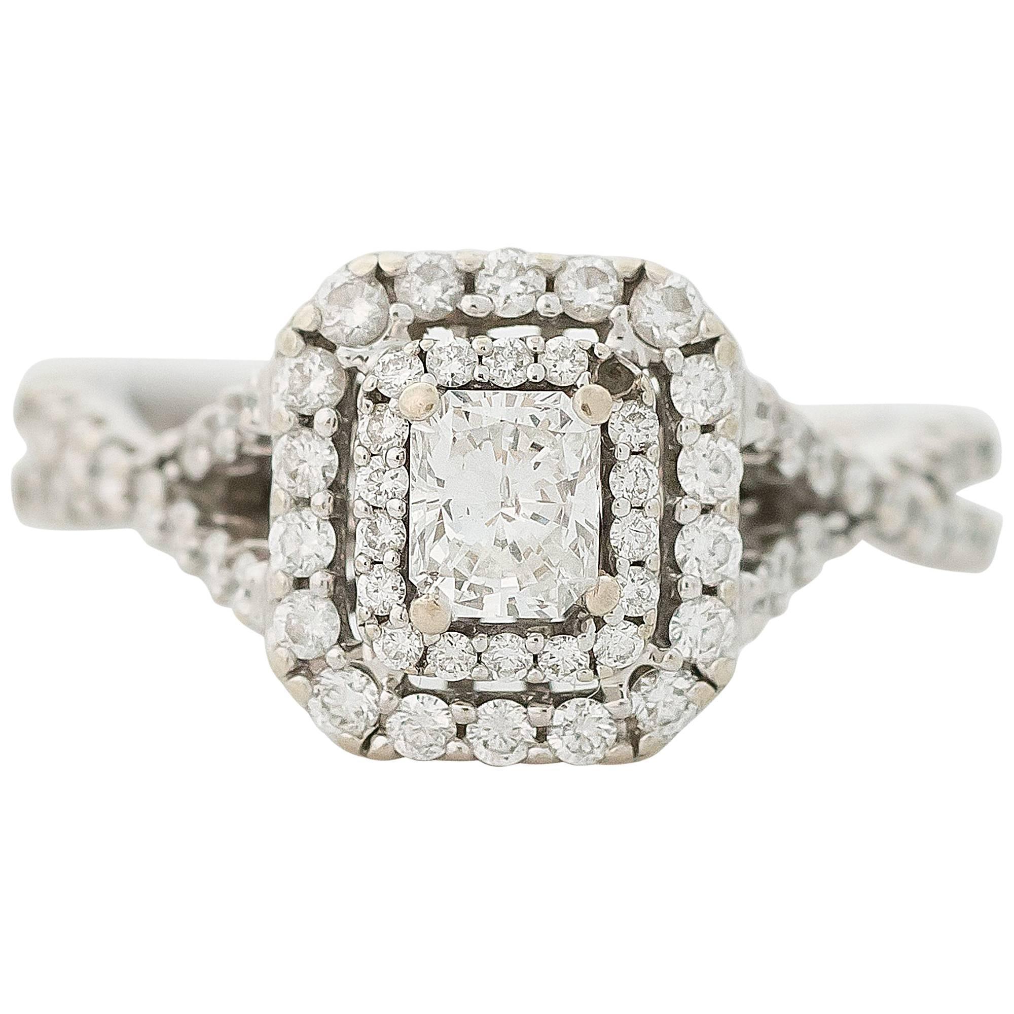 1 Carat Diamond Double Halo 14K Gold Engagement Ring