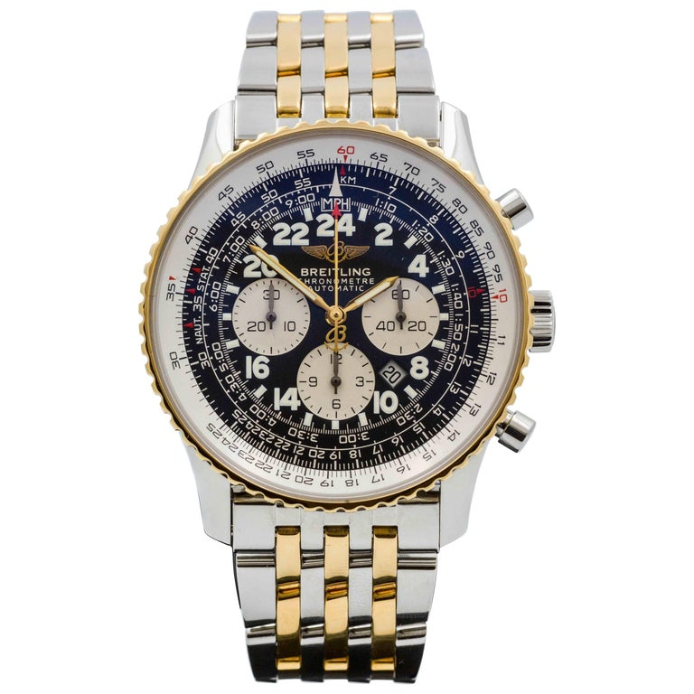 Breitling Yellow Gold Stainless Steel Cosmonaute Automatic Wristwatch