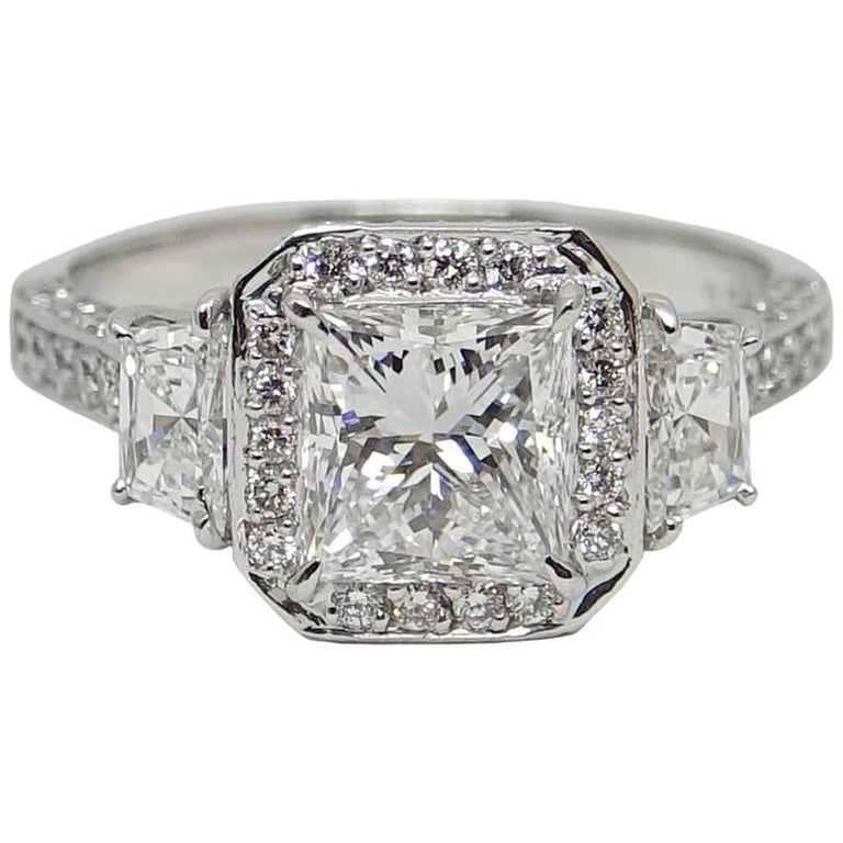 1.52 Carat GIA Certified Princess Cut Diamond Platinum Engagement Ring