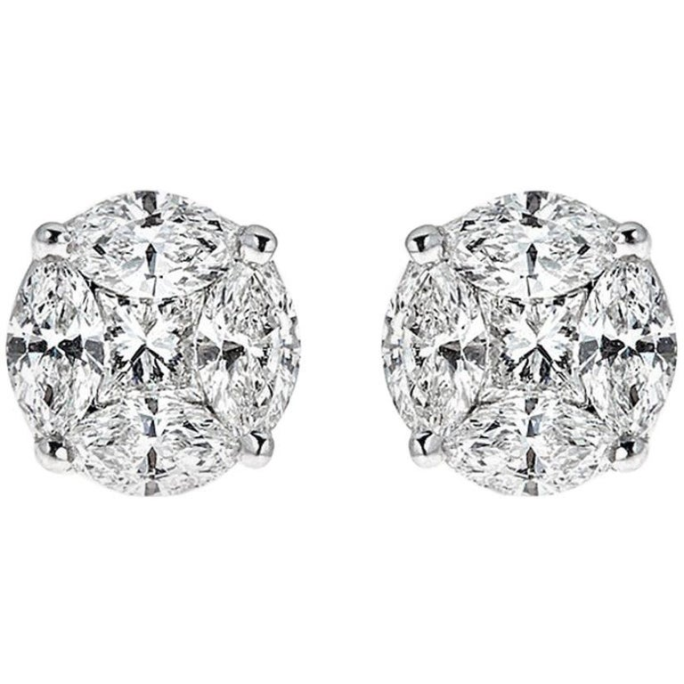 2.00 Carat Round Diamond White Gold Stud Earrings