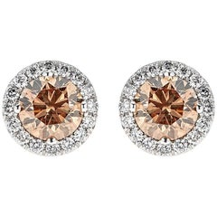 2.08 Carat Round Brown Diamond with 0.38 White Diamonds White Gold Classic Studs