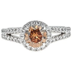 1.06 Carat Round Brown Diamond with 0.46 Carat White Diamond White Gold Ring