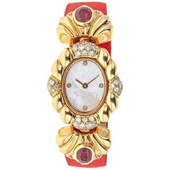 Piranesi Yellow Gold 1.04 Carat Diamond and 2.23 Carat Ruby Wristwatch