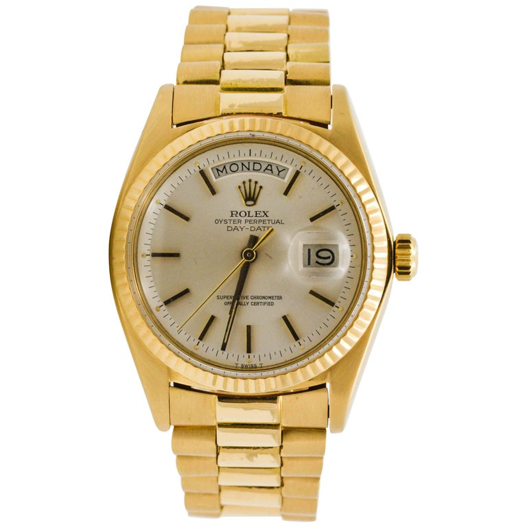 Rolex Yellow Gold Day Date Automatic Wristwatch For Sale