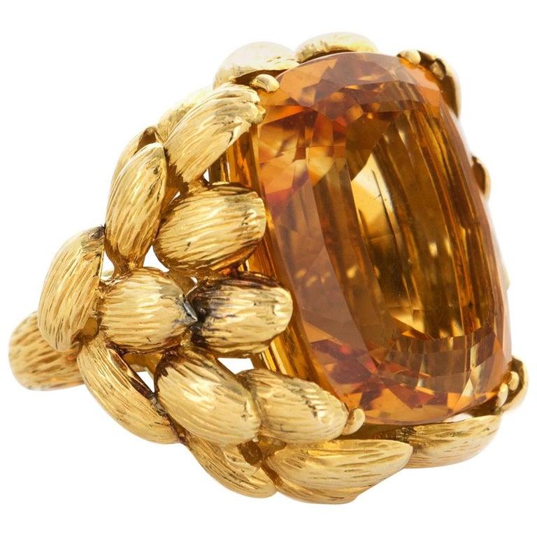 Chaumet Paris 18 Karat Yellow Gold Citrine Ring