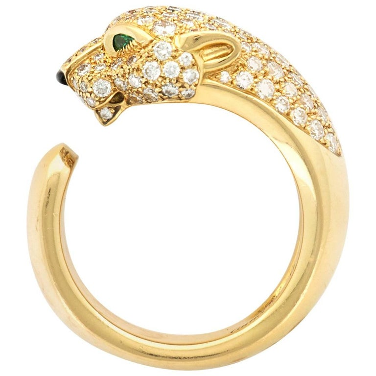 "Cartier Yellow Gold ""Panthere de Cartier"" Diamond Ring"