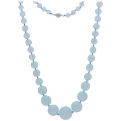 Frederic Sage Natural Aquamarine Beads Necklace silver clasp