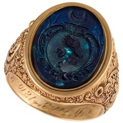 English Antique Agate Intaglio and Gold Ring