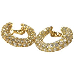 Mauboussin Paris 1970s Diamond and Gold Loop Earrings
