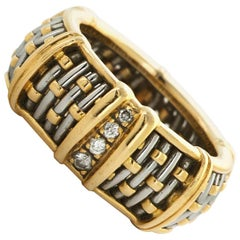 Cartier 18 Karat Yellow and White Gold Diamond Band