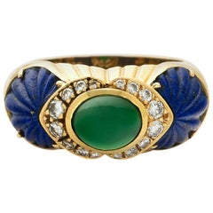 Cartier Yellow Gold Emerald, Diamond and Lapis Dome Ring
