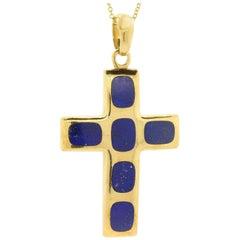 Vintage Lapis Lazuli Gold Cross
