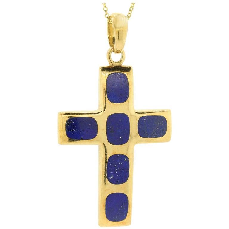 Vintage Lapis Lazuli Gold Cross For Sale